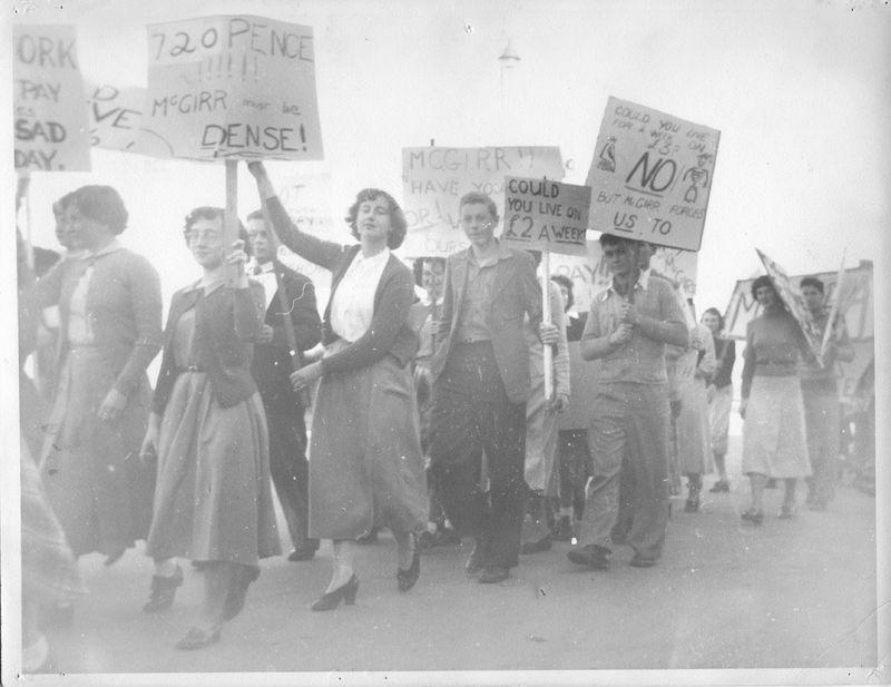 Paul Raffert 1950 (Man carrying sign with NO).jpg