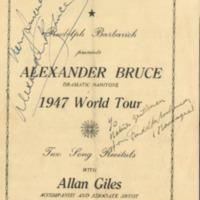 Concert Programme: Alexander Bruce World Tour
