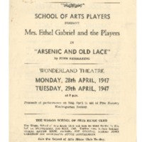 School of Arts Players Programme: Arsenic and Old lace
