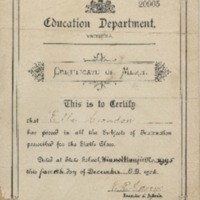 Ella Condon's School Certificate of Merit
